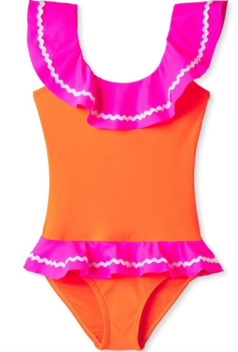 Neon Pink and Orange Ric Rac One Piece Swim Suit