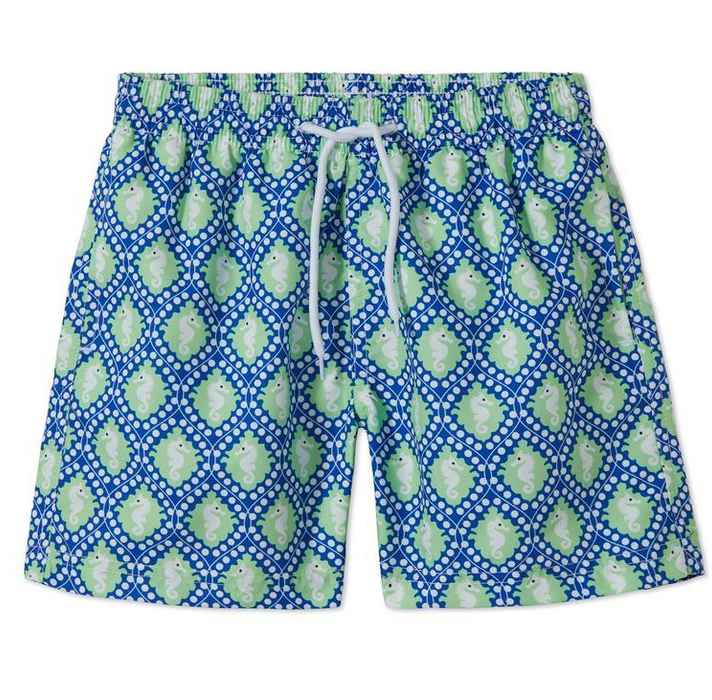 Blue and Green Sea Horse Swim Trunks