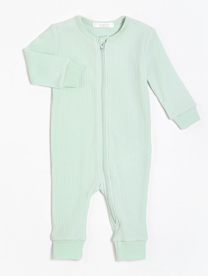 Long Sleeve Ribbed Romper with Organic Cotton
