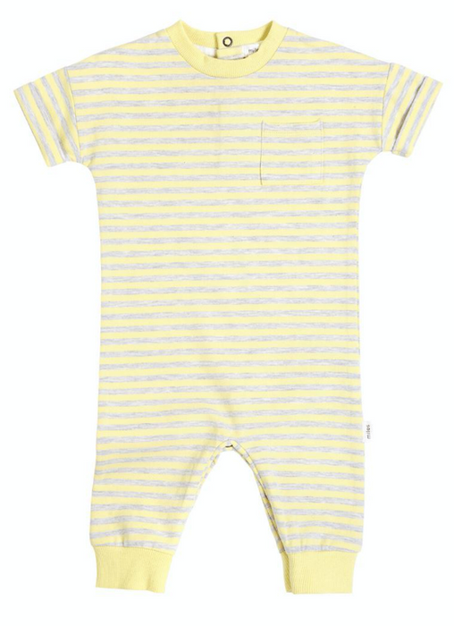 Yellow & Grey Short Sleeve Playsuit