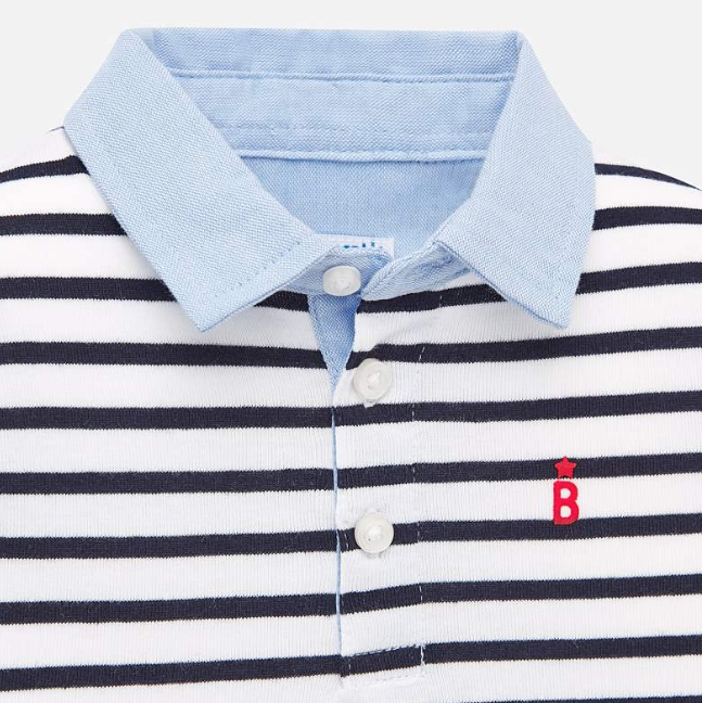 Blue White Striped Polo (1151)