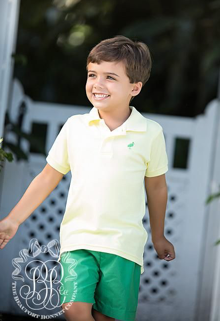 Prim & Proper Polo - Seaside Sunny Yellow with Kiawah Kelly Green Stork