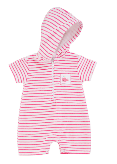 Whale of a Time Pink Striped Romper