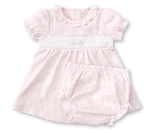 Pink Plaid Dress set w/Hand Embroidered Bunny