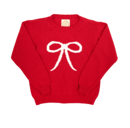 Isabelle's Intarsia Sweater | Richmond Red with Bow