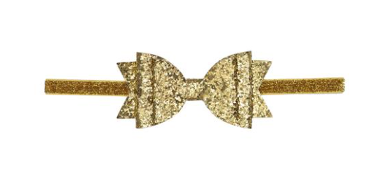 Gold Glitter Bow Soft Headband