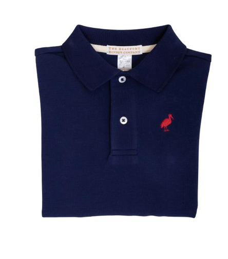 Prim and Proper Long Sleeve Polo | Nantucket Navy/Richmond Red