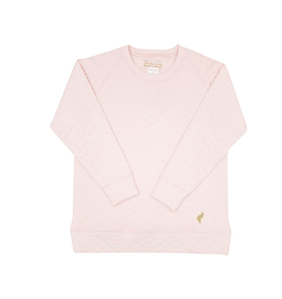 Cassidy Comfy Quilted Crewneck | Palm Beach Pink/Gold