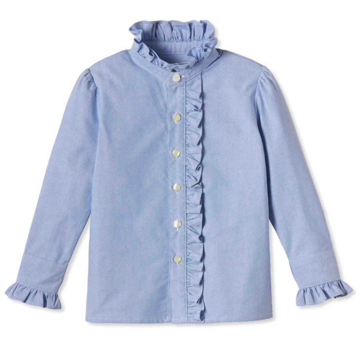 Ginny Ruffle Button Front Shirt | Blue Oxford