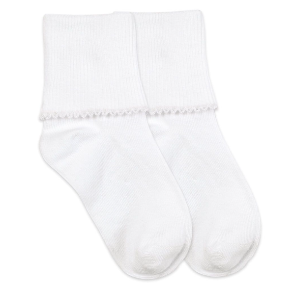 Jefferies Socks Smooth Toe Tatted Edge Turn Cuff White/White Socks 1 Pair (2111)