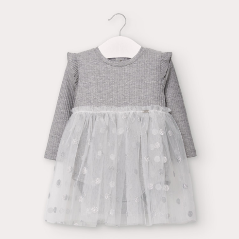 Silver Tulle Baby Girl Dress (2964)
