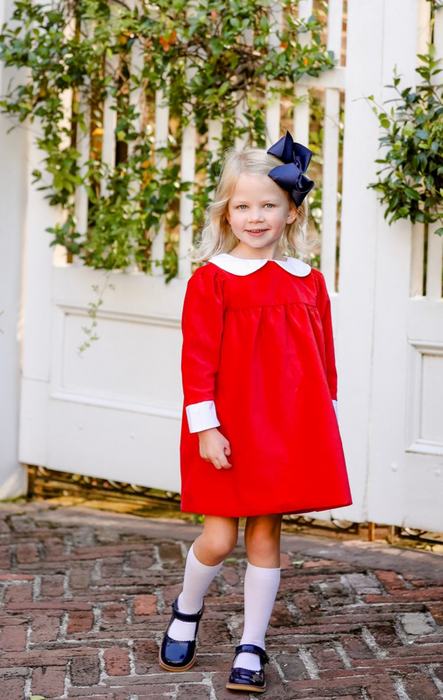 Patsy's Dinner Party Dress Velveteen | Richmond Red