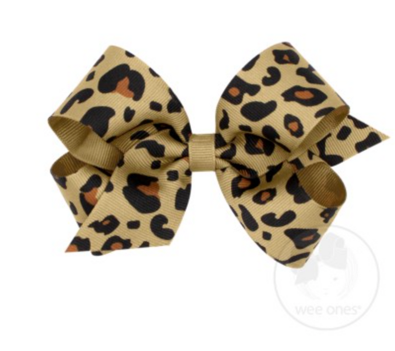 Medium Leopard Print Grosgrain Bow