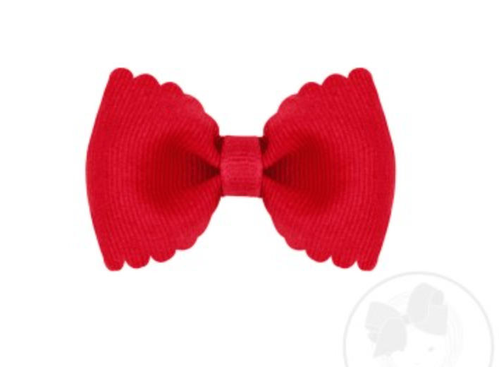 Tiny Scalloped Edge Grosgrain Bow