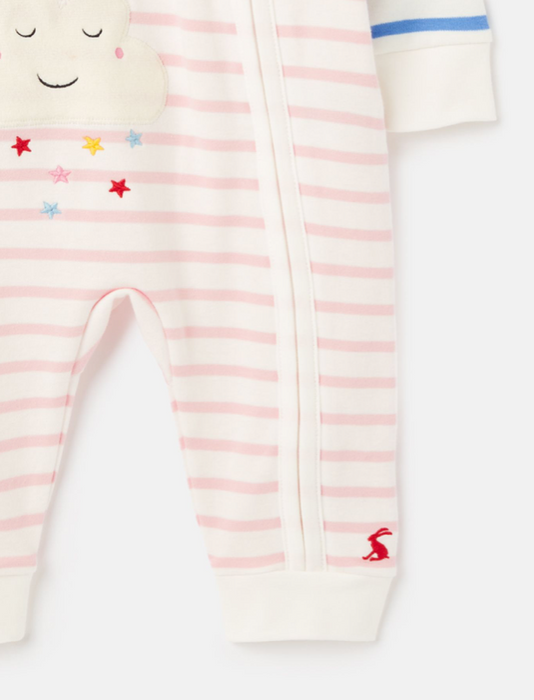 Rainbow Cotton Knit Zip Sleepsuit