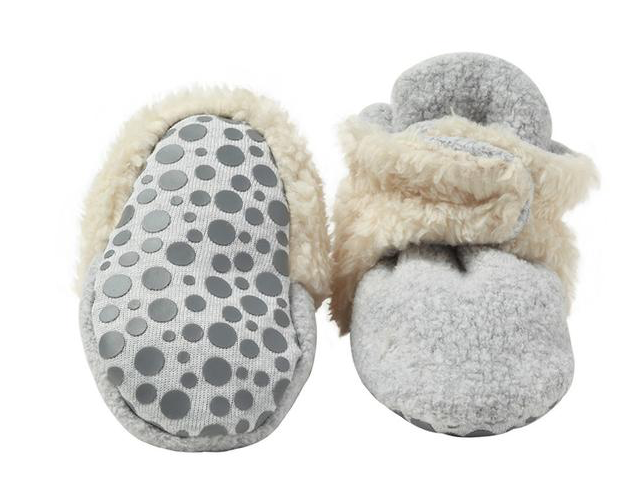 Cozie Furry Baby Bootie | Heather Gray