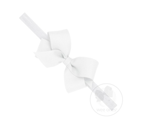Mini Grosgrain Bow Band | White