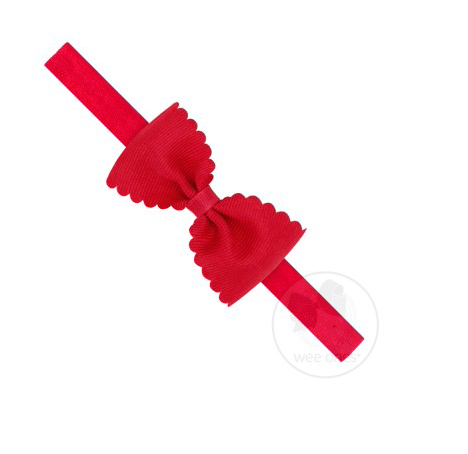 Small Scalloped Edge Grosgrain Bow on Band | Red
