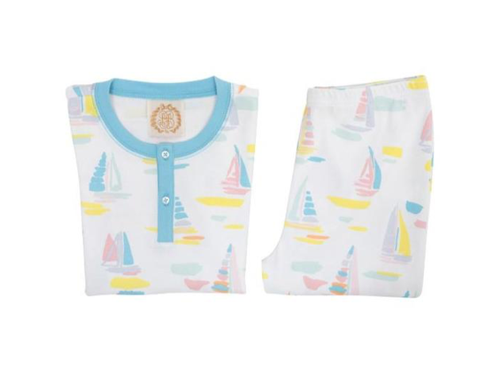Sutton's Short Sleeve Set | Sandyport Sailboat | Brookline Blue
