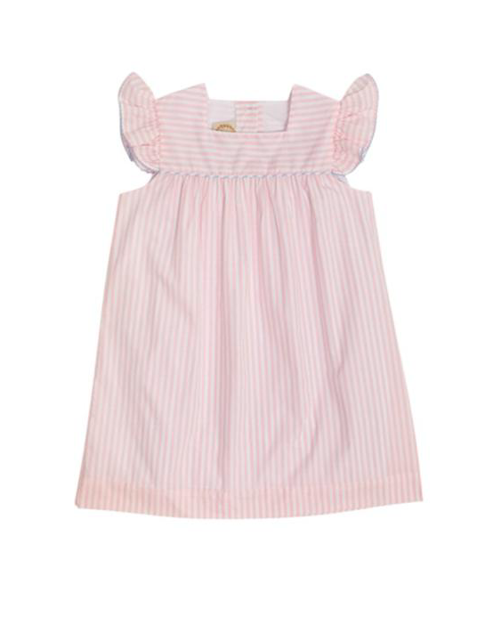 Rosemary Ruffle Dress | Pinkney Pink Stripe/ Buckhead Blue