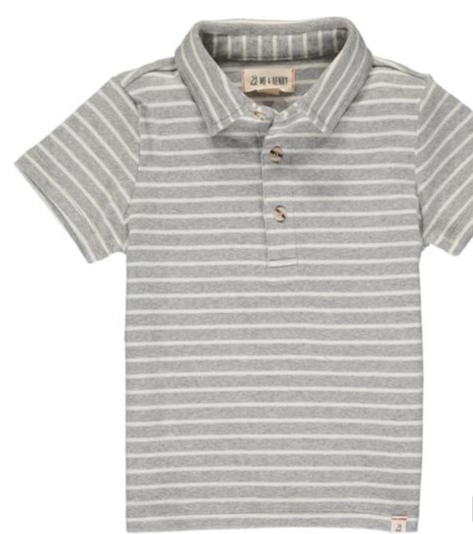 Flagstaff Polo | Grey and White Stripe (HB636d)