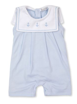 Classic Treasures Sleeveless Playsuit | Light Blue Anchor