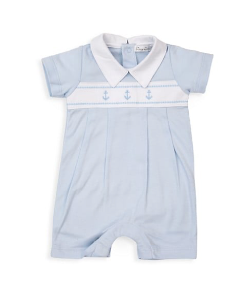 Classic Treasures Short Playsuit | Light Blue Anchor