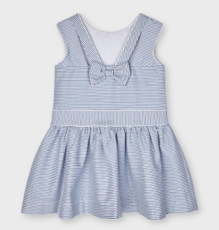 Striped Dress with Bow | Blue and White | 3915