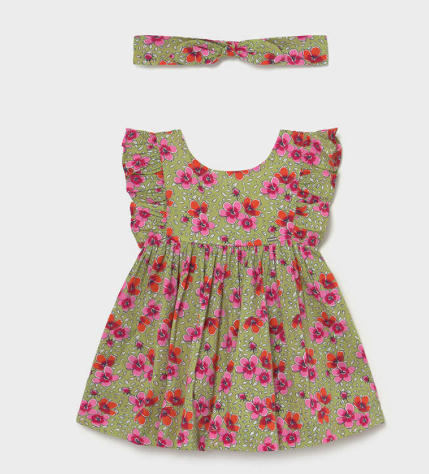 Ruffle Sleeved Dress with Headband  | Pink and Sage | 1987