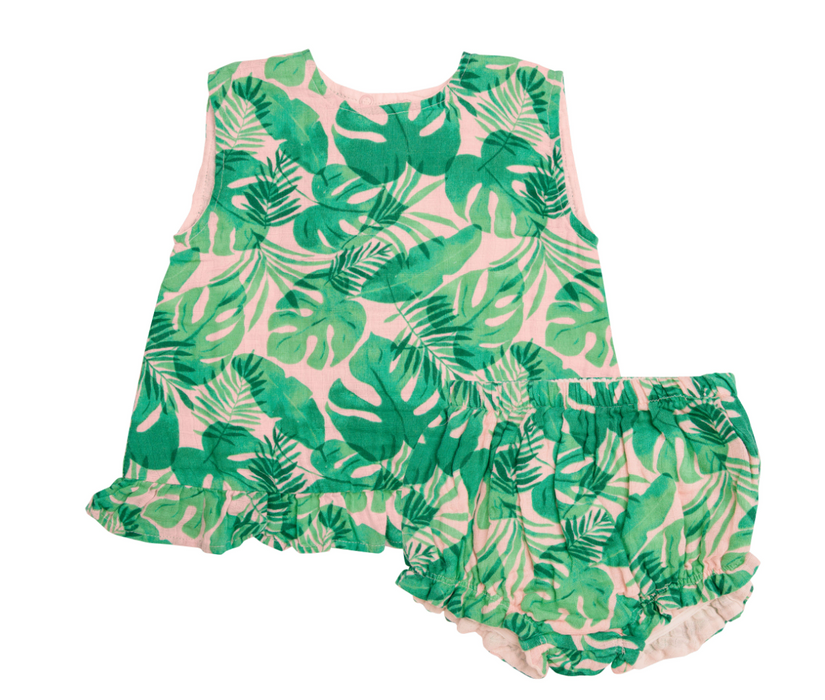 Tropical Leaves Ruffle Top and Bloomer Set