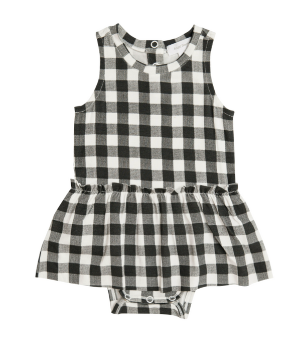 Black & White Gingham Bodysuit with Skirt