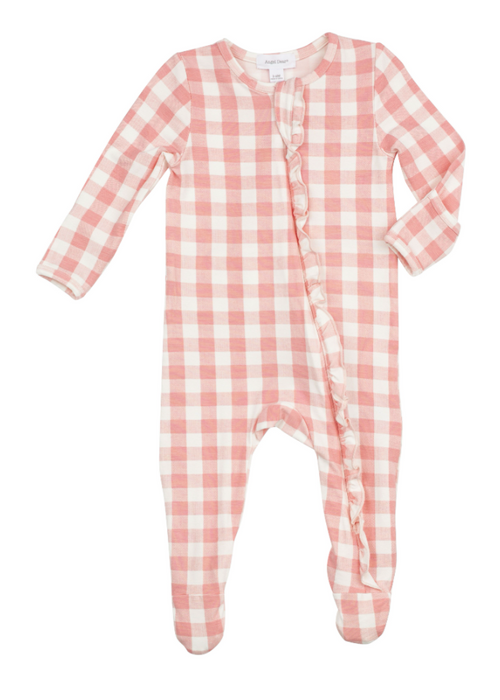 Pink Gingham Ruffle Zipper Footie