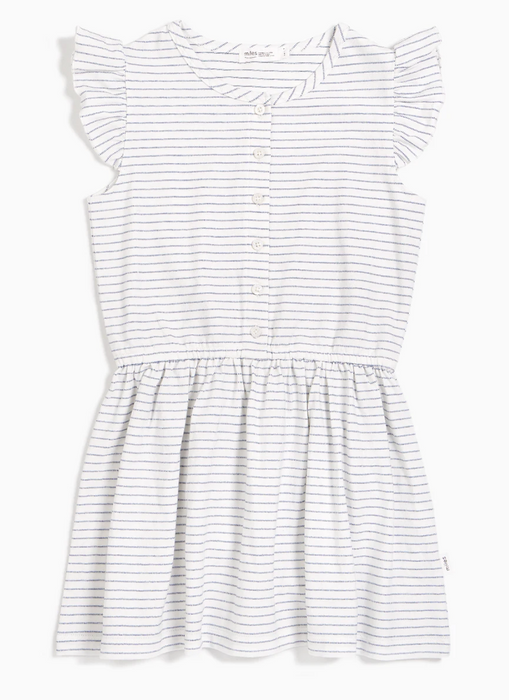 Blue Stripe Flutter Sleeve Dress