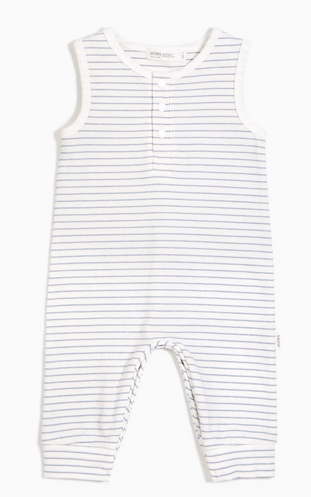 Sleeveless Blue Striped Playsuit