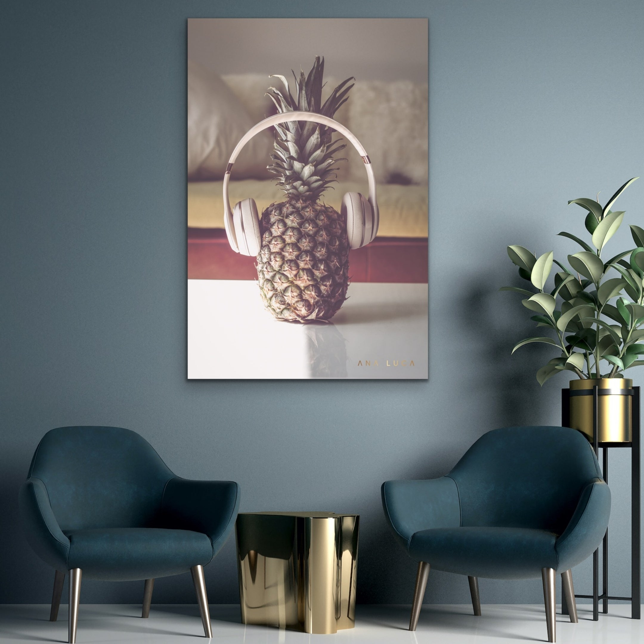 Pineapple Listening To Music by Ana Luca