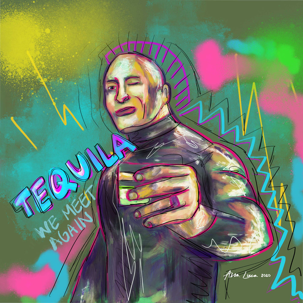 Tequila On The Rock (The Rock/ Dwayne Johnson) Art by Ana Luca