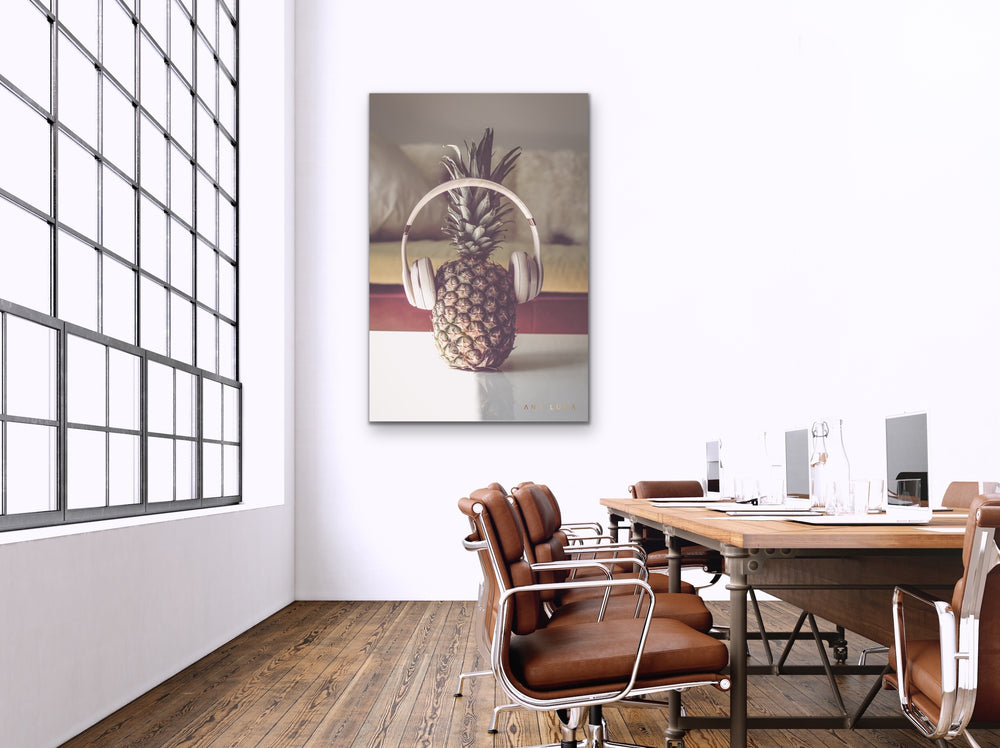 Pineapple Listening To Music Art by Ana Luca