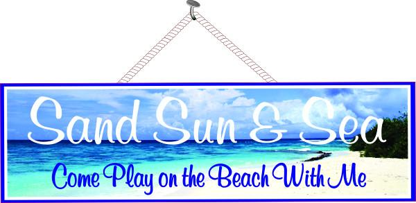 Sand, Sun & Sea Beach Quote Sign in Blue