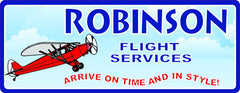Red Airplane Personalized Sign with Blue Sky & Clouds