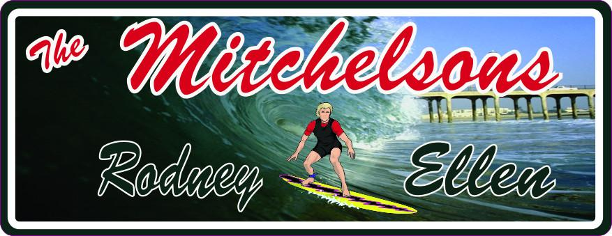 Surfing Personalized Beach Sign with Big Wave