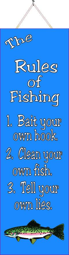 Blue Funny Sign with 3 Rules of Fishing