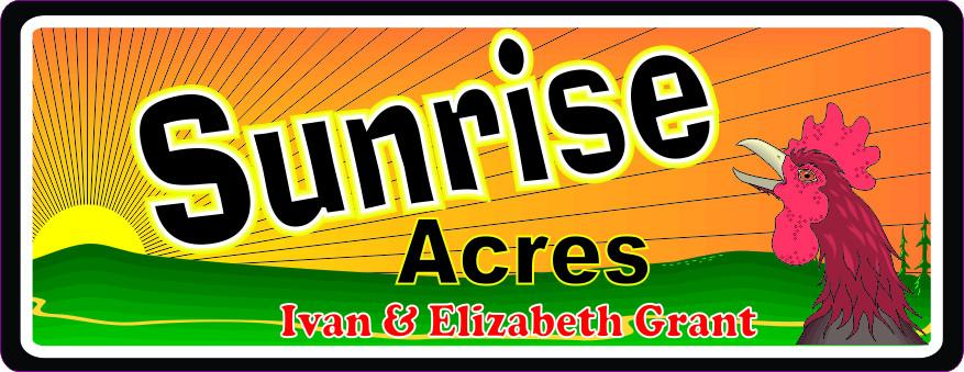 Red Rooster Crowing Personalized Sign with Sunrise