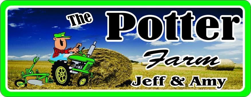 Cartoon Tractor & Farmer Personalized Sign with Round Hay Bale