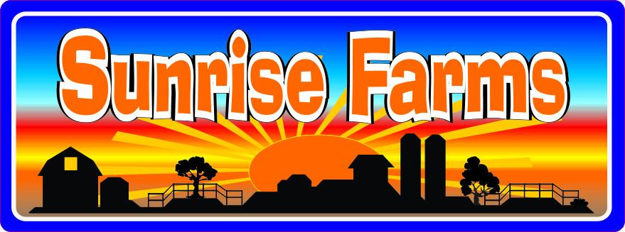 Sunrise Farm Sign with Barn Silhouette