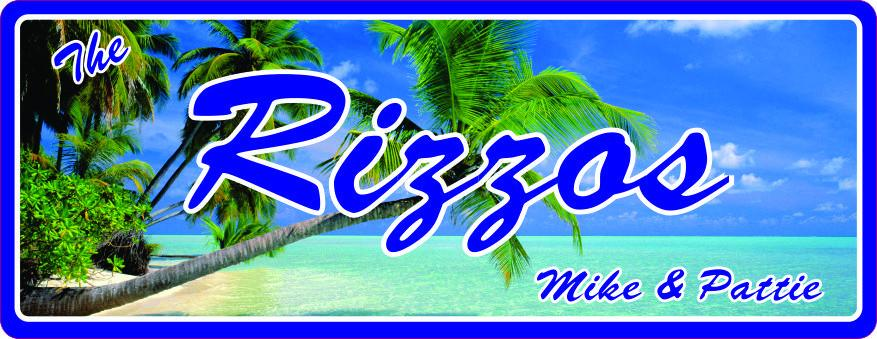 Tropical Island Custom Beach Sign with Palm Trees