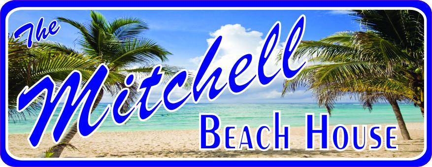 Personalized Beach House Sign with Blue Ocean, Sandy Beach & Green Palm Trees
