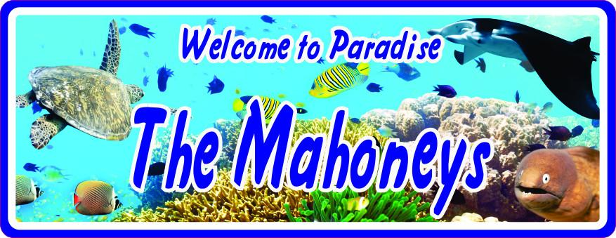 Underwater Welcome Sign with Fish, Sea Turtle, Eel & Manta Ray