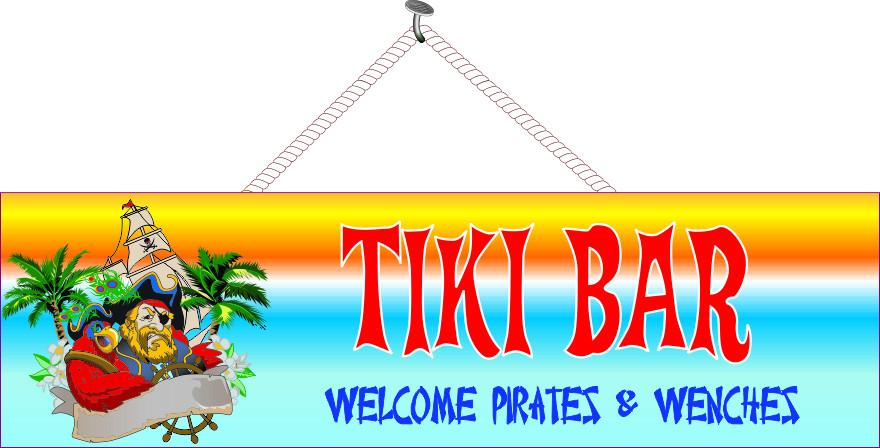 Tiki Bar Welcome Pirates and Wenches Sign with Pirate, Red Parrot & Palm Trees