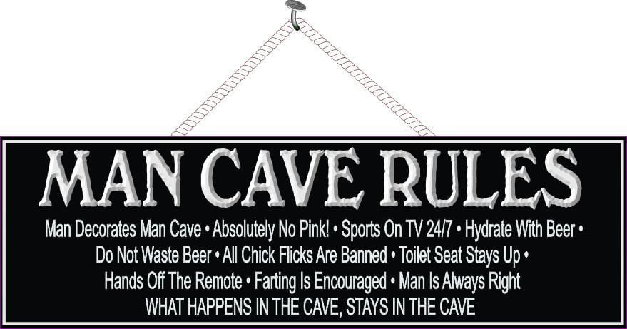 Black and White Man Cave Rules Sign with Border and Funny Quote