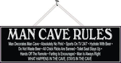 Black and White Man Cave Rules Sign with Border and Aged Font